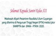 Daftar Nama Santri yang diterima PTN Melalui Jalur SNMPTN dan SPAN - PTKIN 2020